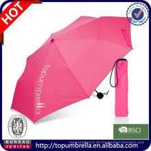 Großhandelsdruckanleitung öffnen fördernder 3 faltbarer Regenschirm