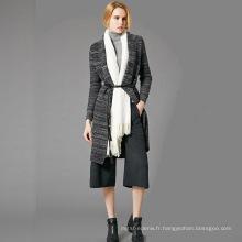 15JWS0722 printemps été nouvelle série mode femme laine Cachemire rayure en tricot robe longue avec manches