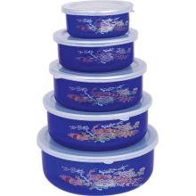 Enamel Ice Bowl 5PCS Set avec couvercle en plastique 10-18cm 204ED