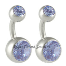 Top Selling G23 Titanium Double Crystal Navel Belly Rings