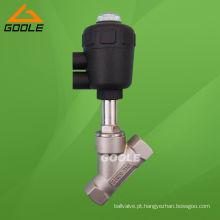 Corpo de aço inoxidável / Atuador Pneumático Plástico / Válvula de Assento de Ângulo (GAYASV)