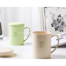 Tasses de vaisselle en plastique en fibre de bambou avec couvercle