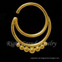16G vergoldet indische Nase Piercing Schmuck 24K Gold Nasenring