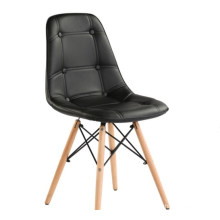 Pu seat with foam cushion wood legs dining  chair