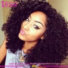 Оптовая высокое качество дешевые кружева перед парик 100% бразильские афро кудрявый парик человеческих волос