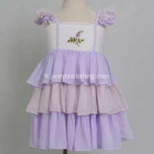 Robe fille à volants en mousseline brodée pourpre