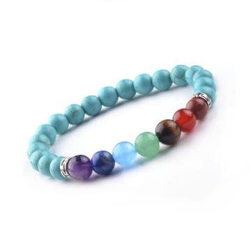 Natural Turquoise Stone Beads Bracelet 8MM 7 Chakra Men Women Bangles Jewellery