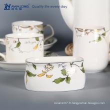 Pure White Logo Custom Fine Fine Porcelain Antique Coffee And Tea Set 15 pcs