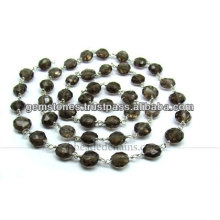 Sterling Silver Faceted Coin Beaded Gemstone Chains