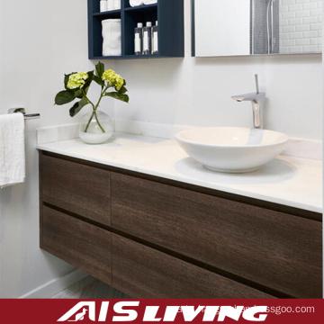 Natural Veneer Wall Hung Bathroom Cabinets for House (AIS-B022)