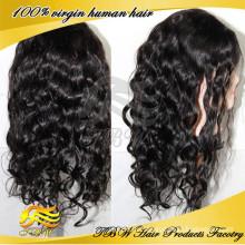 6А класса естественный черный цвет Перуанский человеческих волос кружева фронт парики в Майами