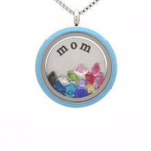 Beautiful floating locket enamel disc necklace jewelry