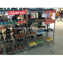 4 Tiers ajustável Chrome Metal Shoe Store prateleira de exibição