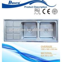 DS12050A heißer verkauf einzigartige verschiedene arten edelstahl fisch reinigung tisch mit waschbecken