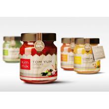 Produtos de cozinha Produtos enlatados Galss Jar Mel Jam Jar Armazenamento Garrafa Jars