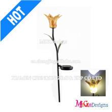 Estatuilla de moda de las luces solares de la forma de la flor del metal y del vidrio
