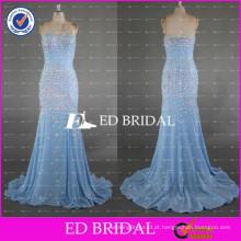 ED Bridal New Collection Sparkle Sweetheart Neckline Heavy Beaded Crystal Memaid Zipper Chiffon Long Evening Dress 2017