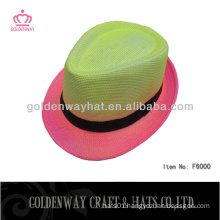 colorful summer fedora hats paper straw neon color classical design for party