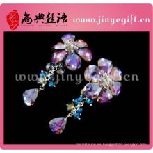 gran flor caliente largo alto gota cristal nuevo último modelo 2014 venta al por mayor rhinestone mujeres pendiente de la manera