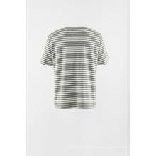 Camiseta manga corta raya punto apliques