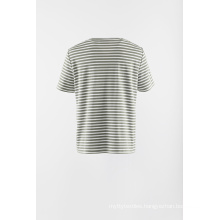 Applique stripe knit short sleeve Tshirt
