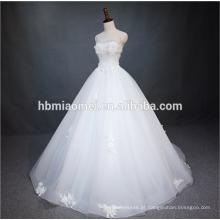 Princesa Puro Branco A Linha Até O Chão Lace Frisado Sem Alças Backless Vestido De Noiva De Noiva Com Espartilho De Volta