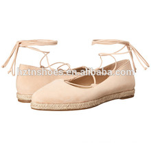 Ladies Fancy Espadrille Shoes 2016 High Quality Women Ankle Wrap Flat Shoe