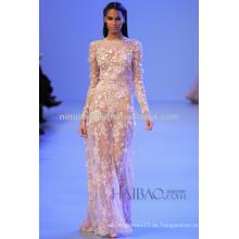 Frühling 2014 Sexy sehen Sie durch Hochzeits-Kleid-Juwel-Ansatz-lange Hülse in voller Länge Spitze Applique-Hüllen-Brautkleid NB041