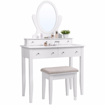 Classic Vanity Makeup Table Set Mirror 4 Drawers Wooden Dressing Table with Large Stool White