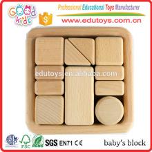 Jouet en bloc de bébé en bois de hêtre de première qualité 11pc, Montessori Inspired Sensory Kids Block Toy