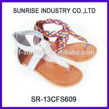 SR-13CFS609 las sandalias planas chicas de las muchachas del vendedor 2014best forman a las sandalias planas de las muchachas para las sandalias planas vendedoras calientes de las muchachas del verano de los cabritos