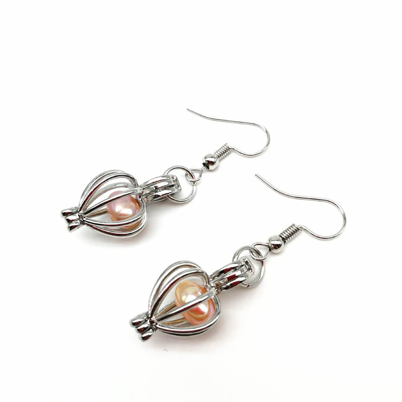 Silver Cage Pendant Earrings