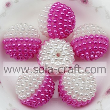 Perla girocollo in acrilico color rosa brillante per decorazioni per feste 19MM