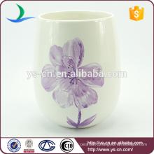YSwb0010-01 Flower decal ceramic bath waste bin manufacturer