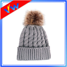 Custom Fur Pom Pom Beanie Hat