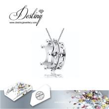 Destino joias cristal de Swarovski colar pingente de coroa