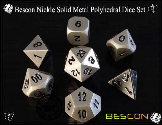 Bescon Nickle Solid Metal Polyhedral Dice Set-1