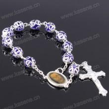 Gebet Perlen Armband mit Kreuz für religiöse Silber Rosenkranz Armband Armreif