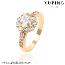 13816-Xuping venta al por mayor ronda CZ anillo blanco diamante 18K anillo de oro