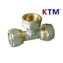 Messing-Rohrverschraubung - weibliches T-Stück - Laser- oder Überlappungs-Rohr, mehrschichtiger Schlauchanschluß