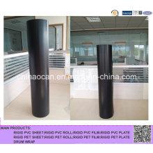 Folha rígida de PVC preto e rolo