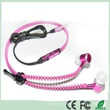 Elegante diseño de metal en la oreja auriculares estéreo auricular cremallera (K-916)