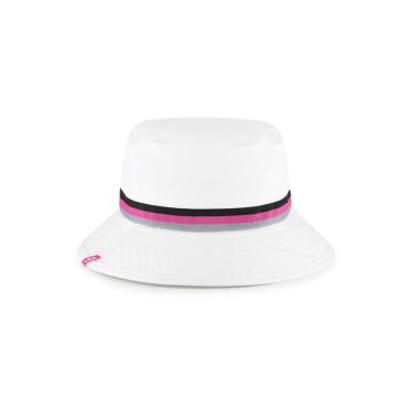casquette seau blanche en sergé de coton à bande tissée