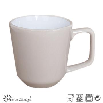 12oz Stoneware Mug Inside White Outside Grey with Square Handle