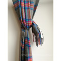 Cashmere Grey Plaid Shawl for Cold Weather