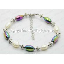 Moda 2012 Joya Hematite arco-íris Beads Anklet
