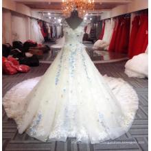 Elegantes langes Blumenhochzeits-Kleid-2018 blaues langes Frauen-Hochzeits-Kleid V-Ausschnitt Hochzeits-Kleid