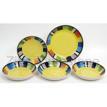 Keramische gelbe Streifen Square Design handbemalt Abendessen Set (TM7514)