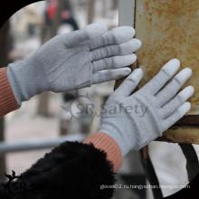 SRSAFETY 13g нейлоновая и углеродная верхняя пальца с покрытием PU антистатическая перчатка