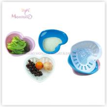 3 Pack Heart-Shaped Plastic Fruit/Vegetable/Rice Colander Strainer